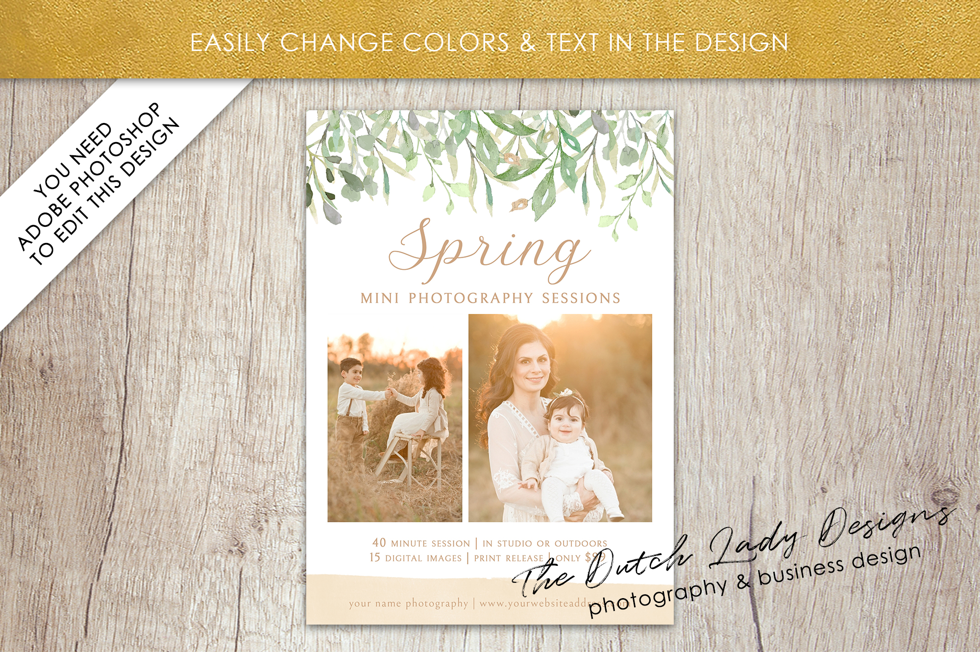 PSD Spring Photo Session Card Template - Design #36 example image 4