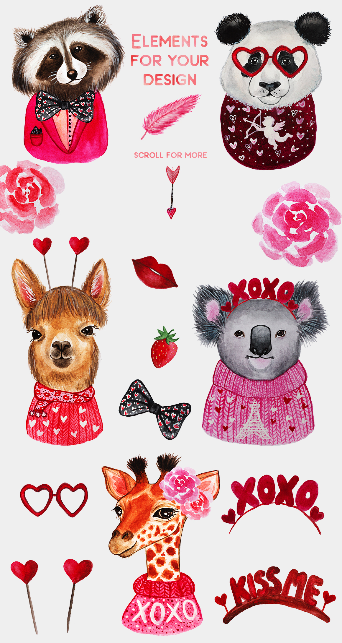 Valentine's Day. Watercolor animals example image 3