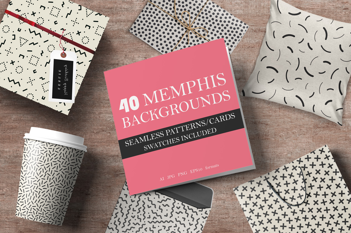 40 Memphis seamless patterns. 80-90s example image 1