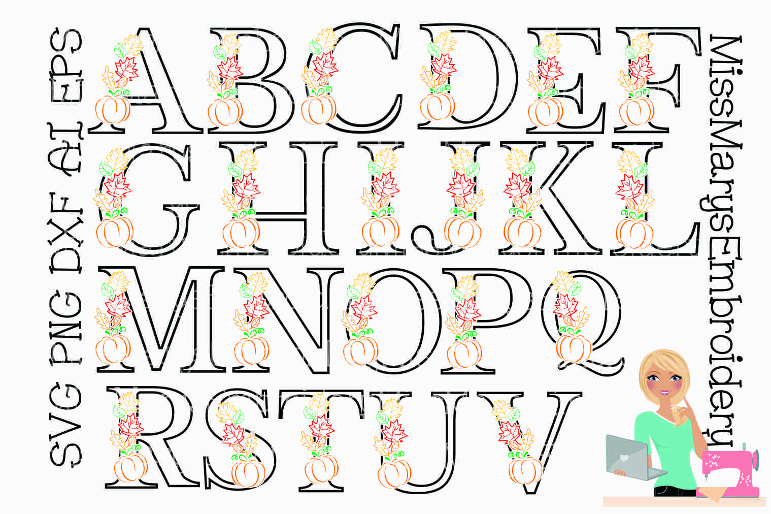 Fall Pumpkin Leaf Letters SVG Cutting File PNG DXF AI EPS example image 2