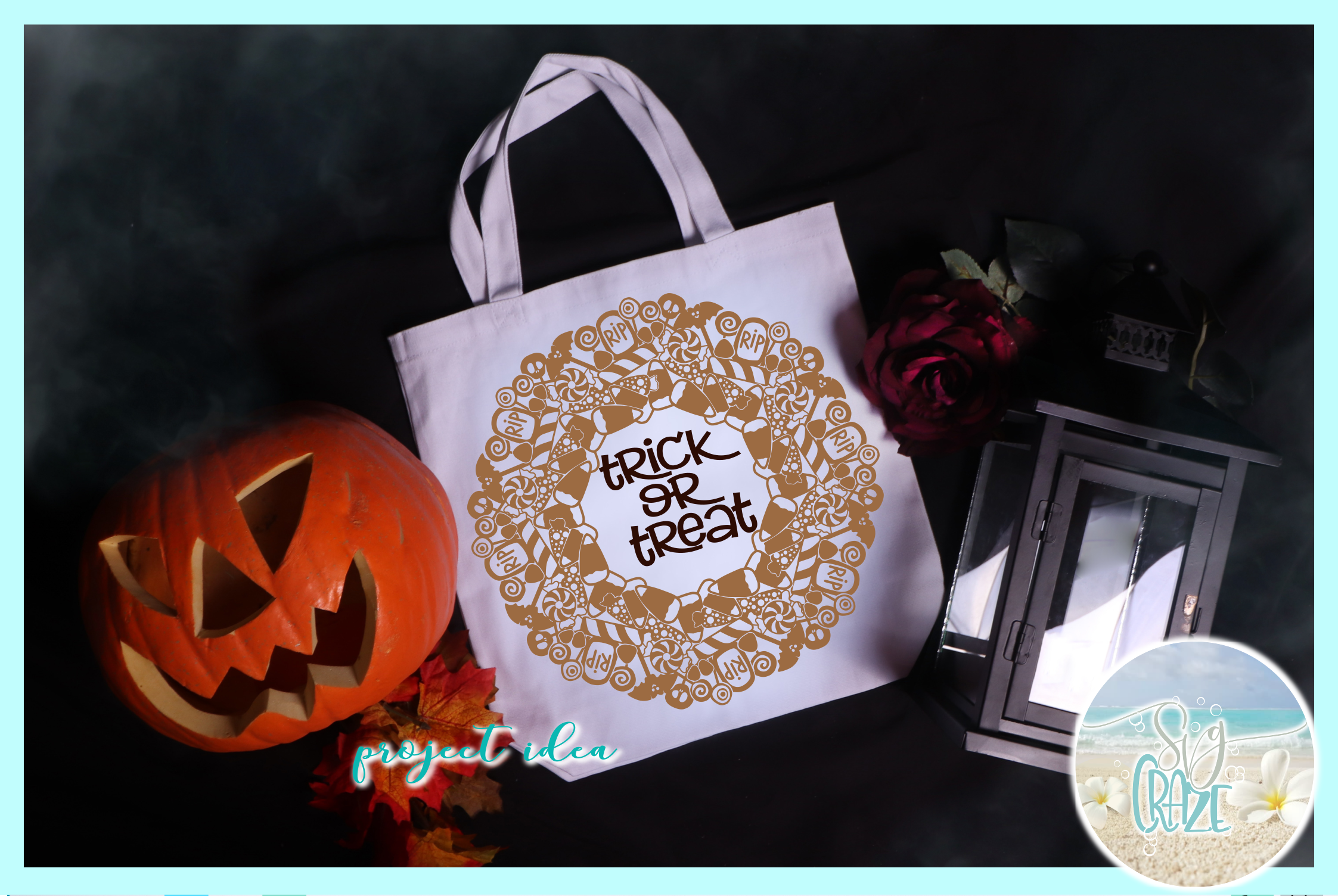 Trick or Treat Halloween Candy Mandala Zentangle SVG example image 2