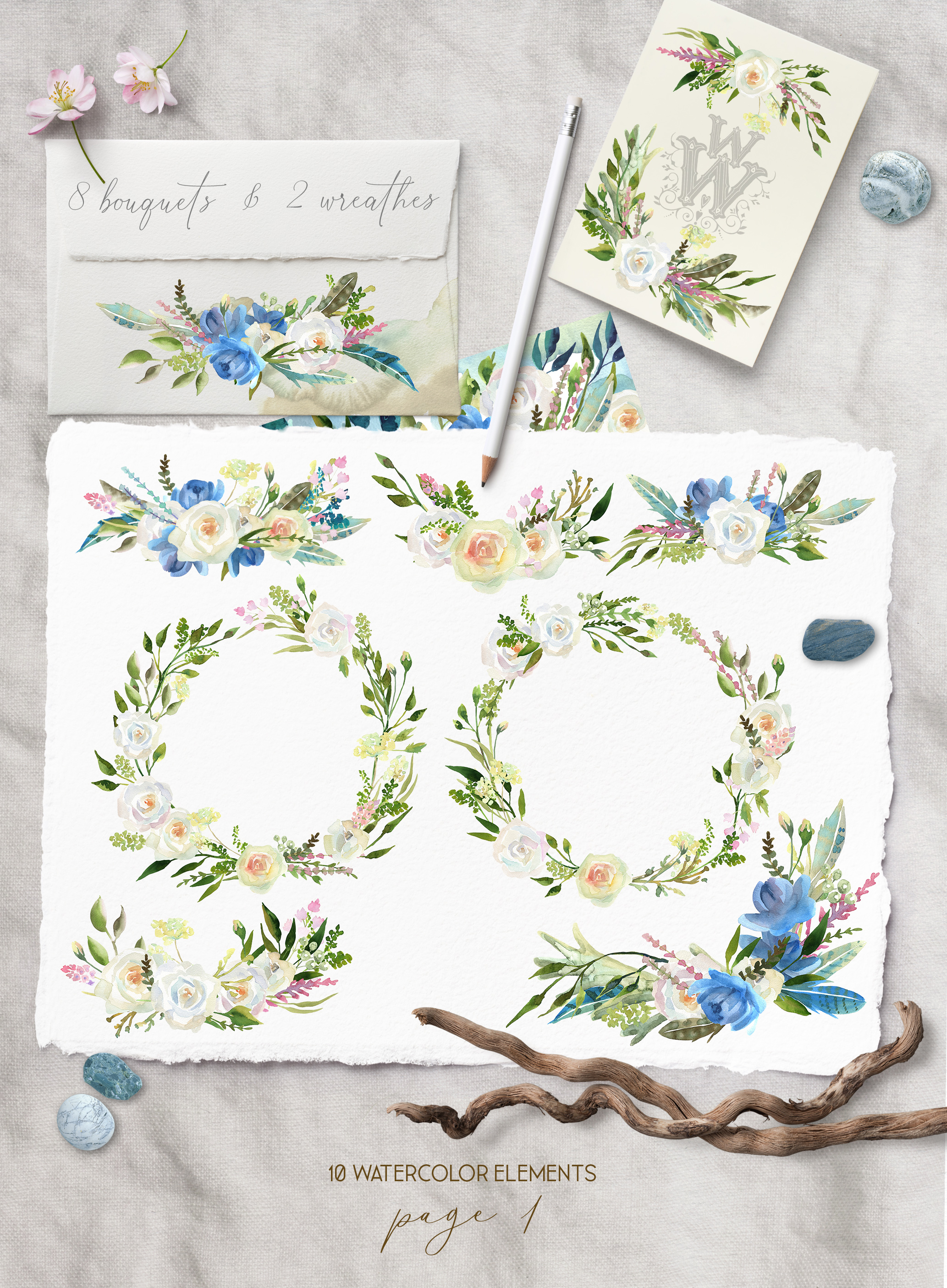 Watercolor floral wedding bouquets, boho compositios wreath example image 2