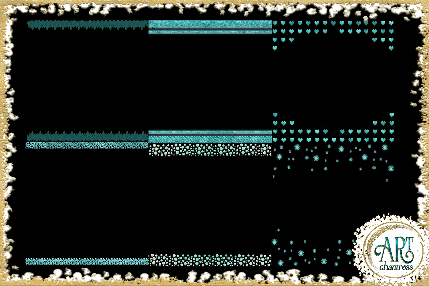 Teal Aqua Foil Glitter Seamless Digital Papers,Borders Set example image 7