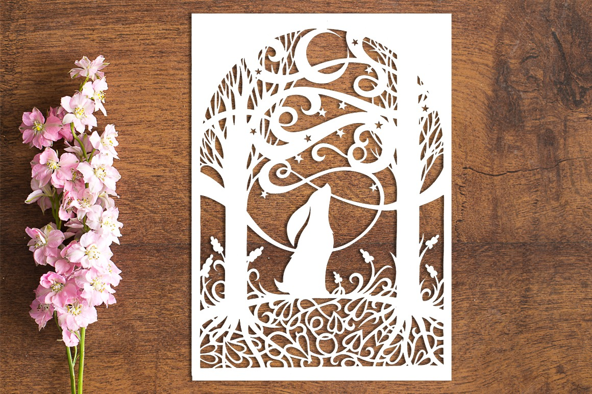 Moon Gazing Hare - Paper Cutting Template example image 1