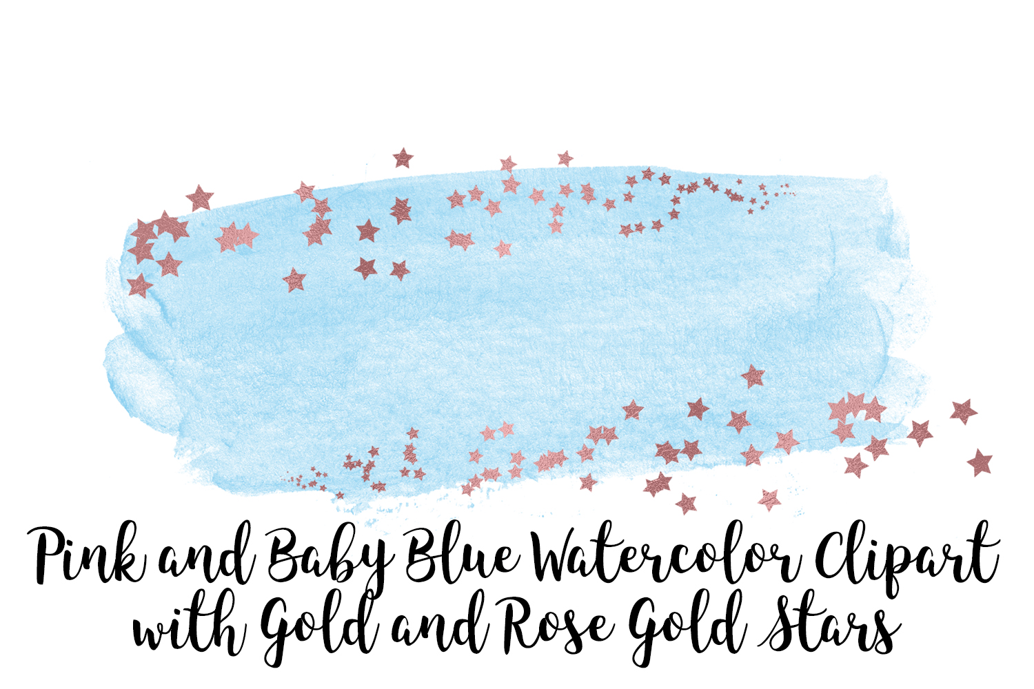 Pink and Baby Blue Watercolor Clip Art, Gold and Rose Gold example image 4
