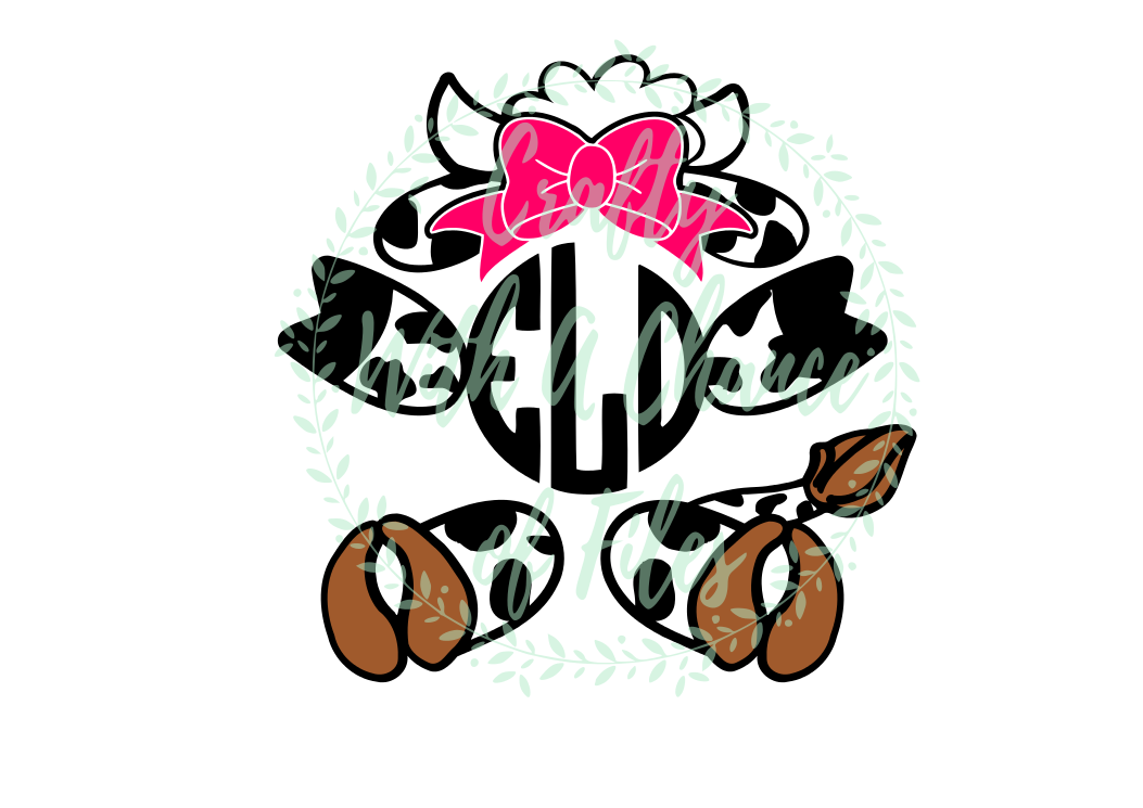 Girl Cow Monogram SVG - Easter Animal Design example image 1