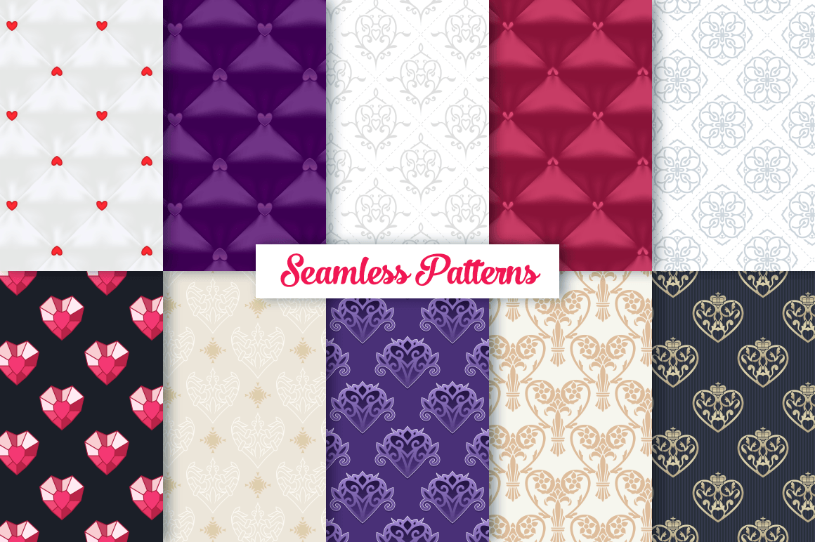 100 Heart Vector Ornaments and Seamless Patterns example image 5