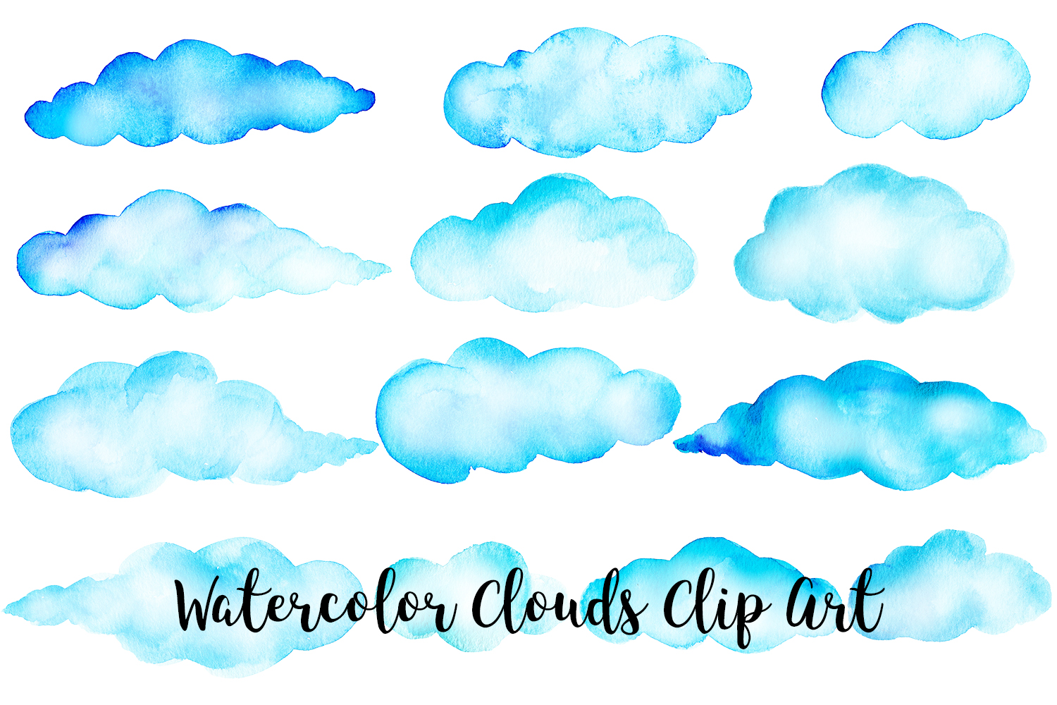 Watercolor Clouds Clip Art, Watercolor Clouds PNG example image 3