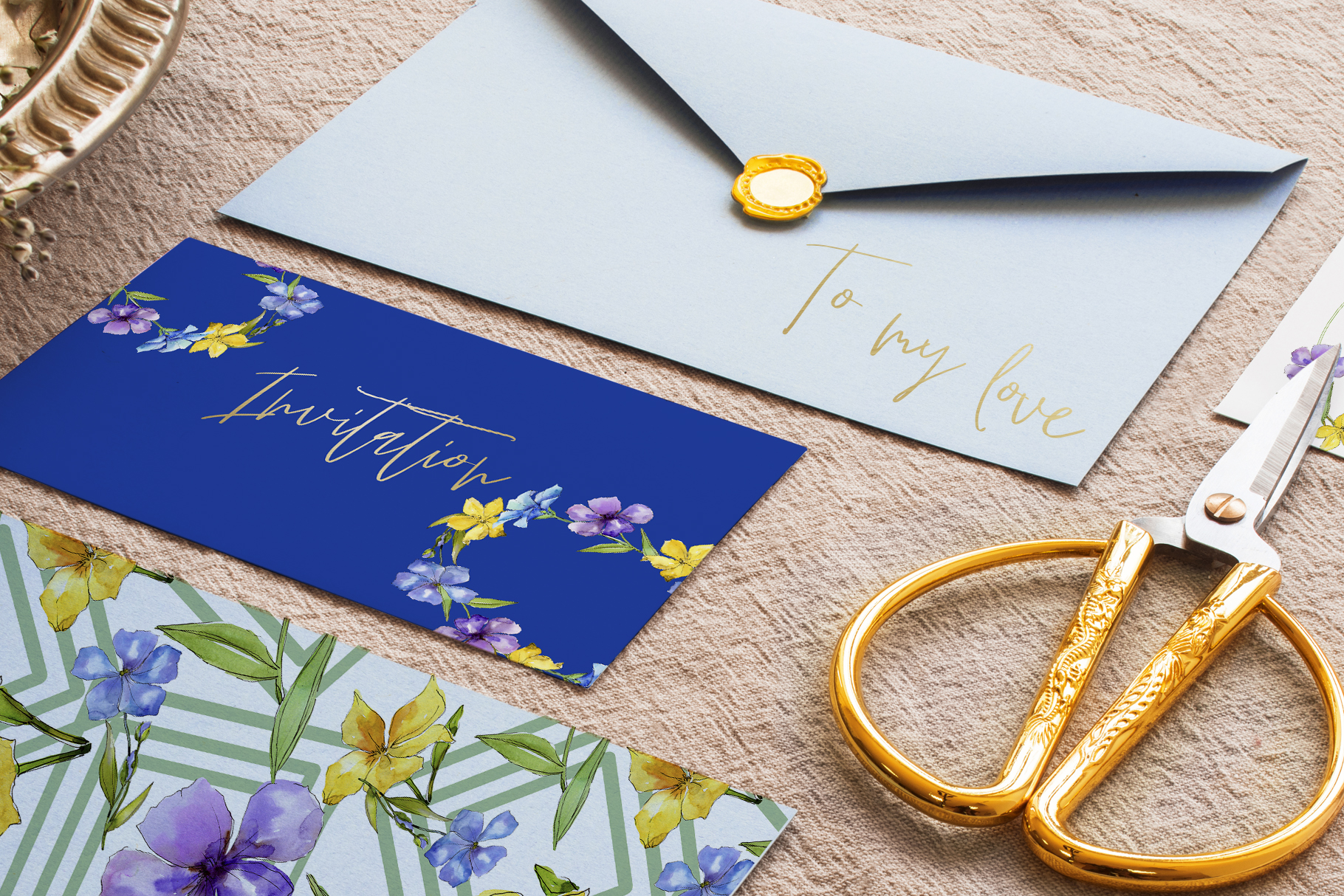 Flax Blue and yellow fowers Watercolor png example image 7