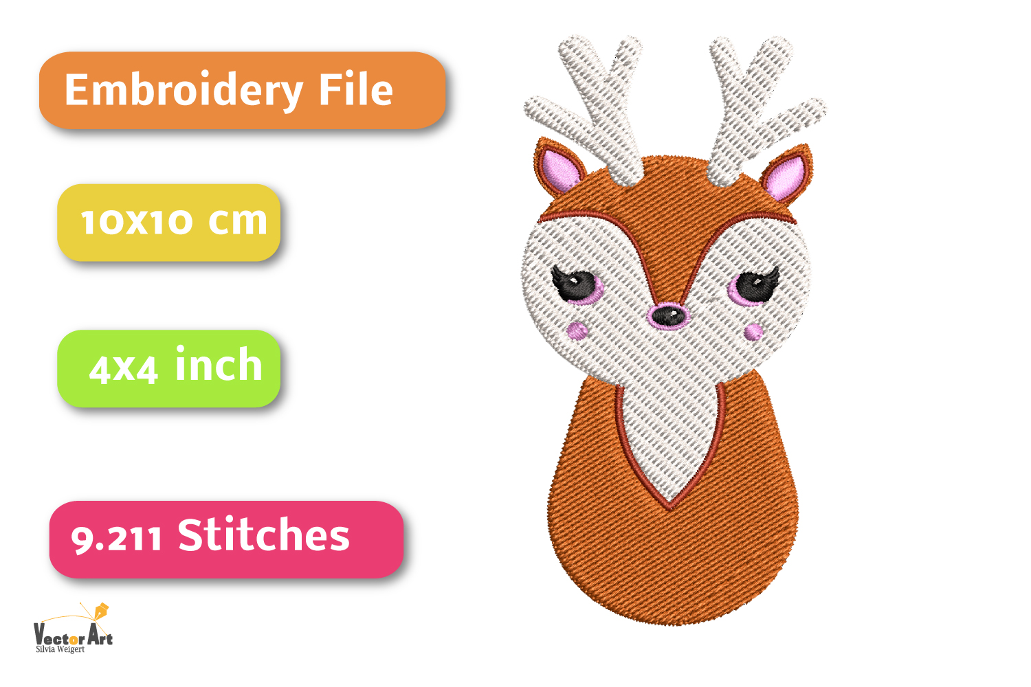 Deer - Embroidery File - 4x4 inch example image 2