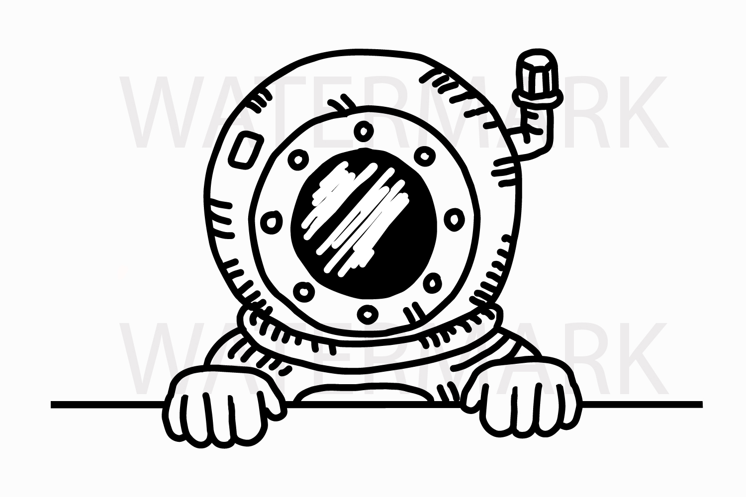 Underwater Guy Peeping and saying hello - SVG/JPG/PNG Hand Drawing example image 1