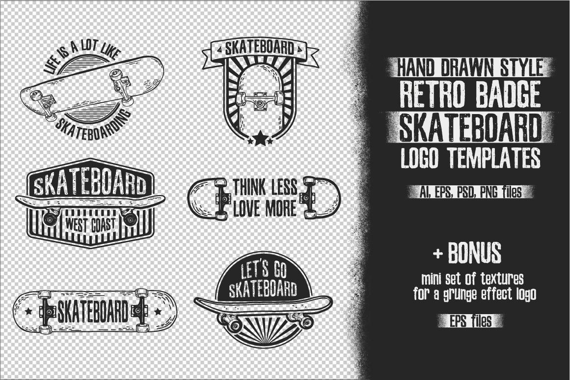 Retro skateboard | Template logo set example image 3