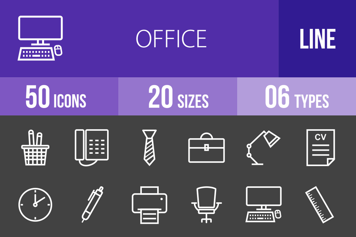 50 Office Line Inverted Icons example image 1