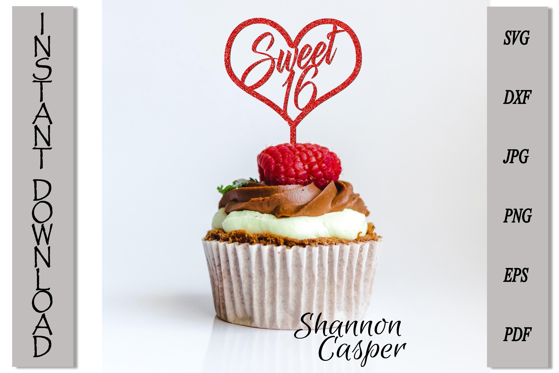 Sweet 16 Happy Birthday Cake Topper example image 2