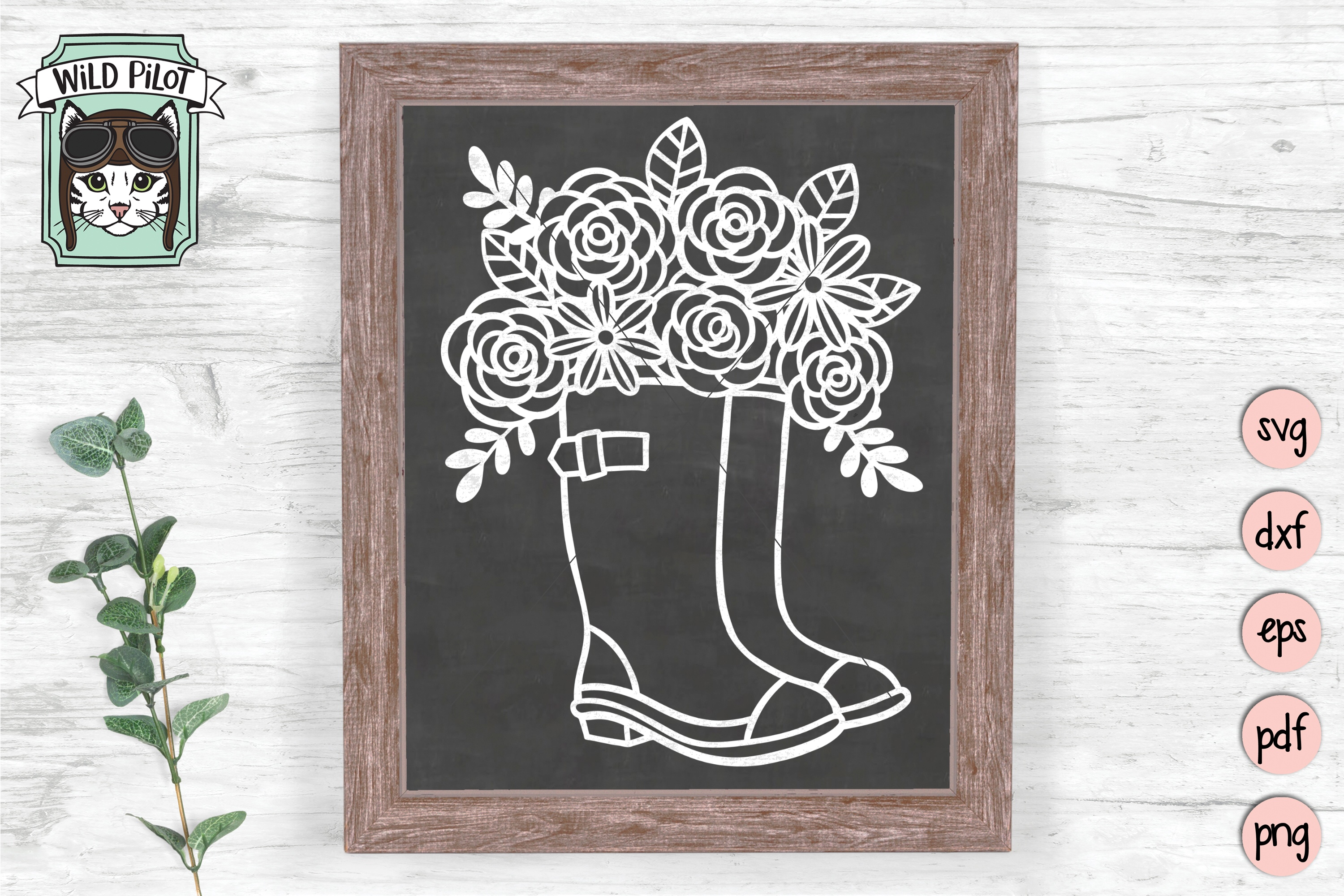 Rain boots svg file, Boots with flowers, Wellies cut file example image 2