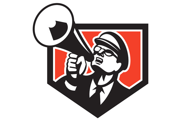 Nerd Shouting Megaphone Shield Retro example image 1