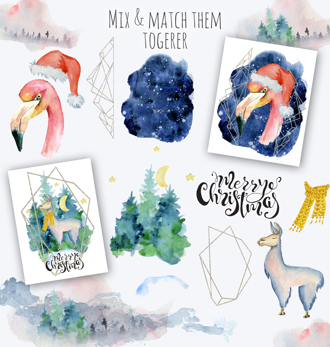 Magical Winter Bundle. Big Watercolor and lettering collection example image 2