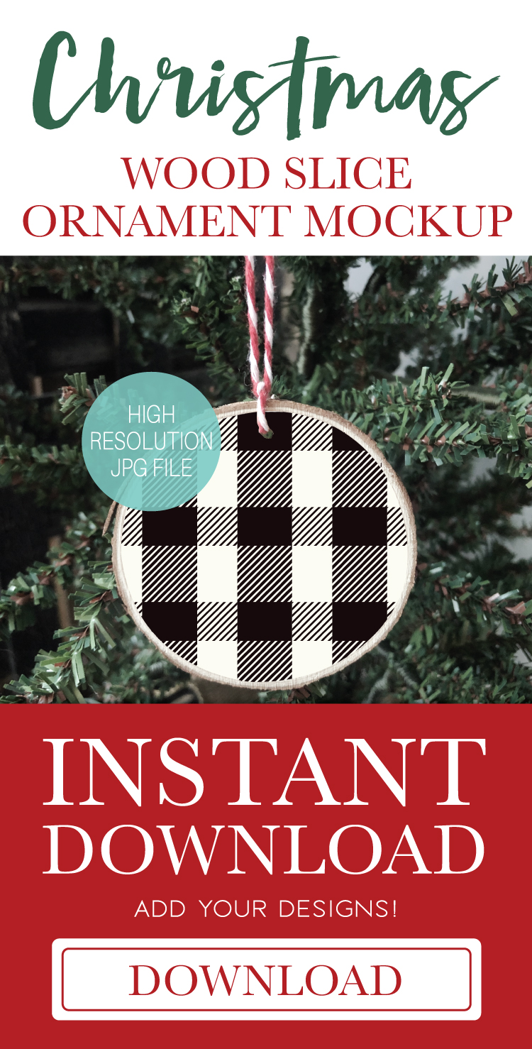 Buffalo Plaid Round Wood Slice Ornament Mockup | Christmas example image 2