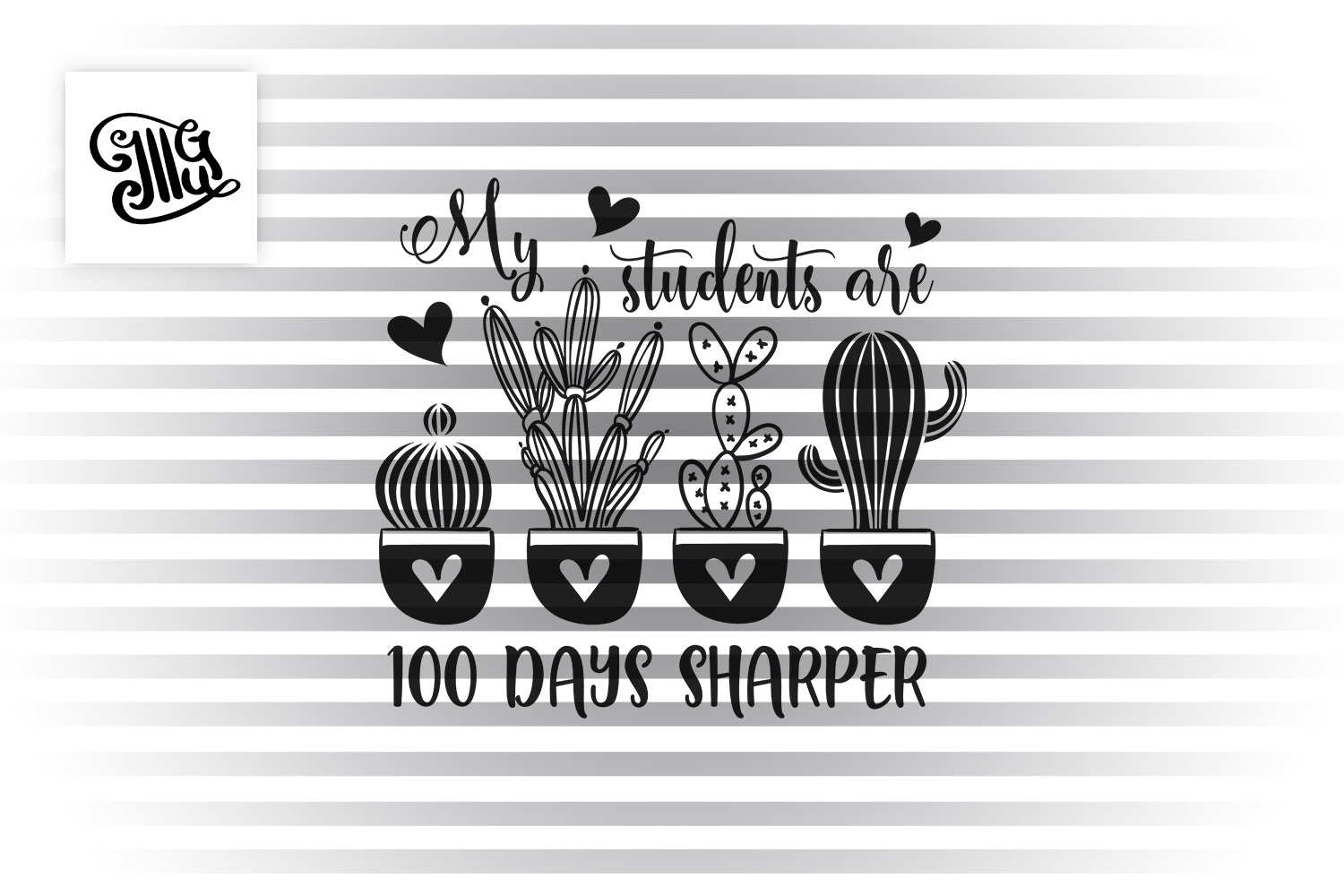 100 days of school for teacher svg with cactus clipart example image 2