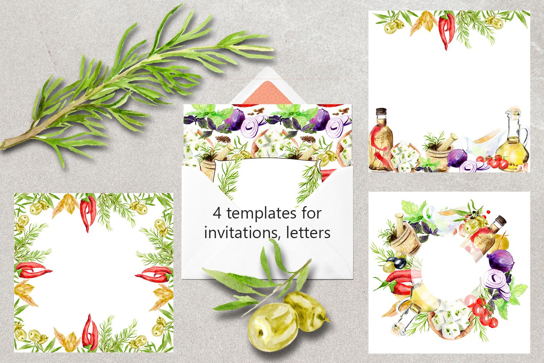 Watercolor set of Greek cuisine example image 4