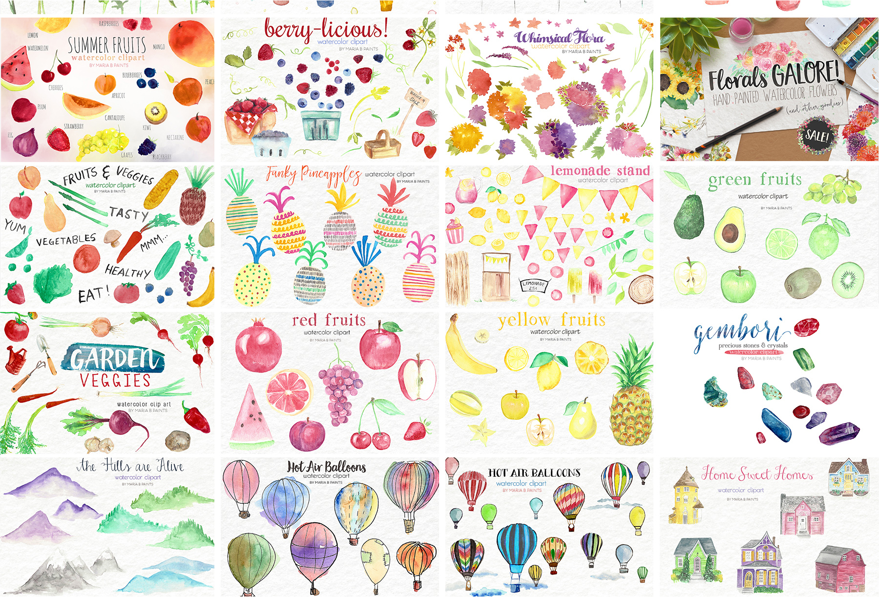 2,600 in 1 Watercolor Clip Art Bundle example image 22