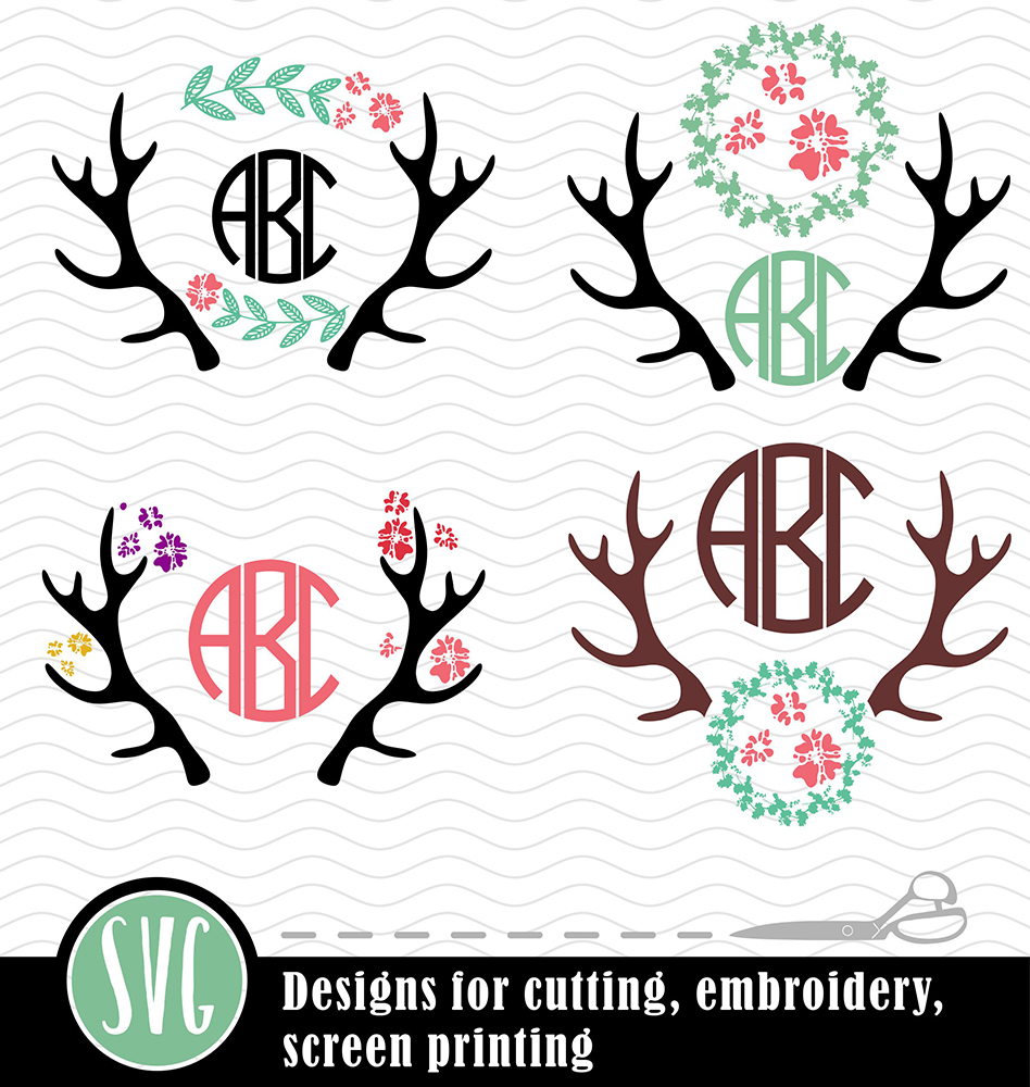 Antlers and flowers Bundle SVG, DXF, JPG, PNG, DWG, AI, EPS example image 2