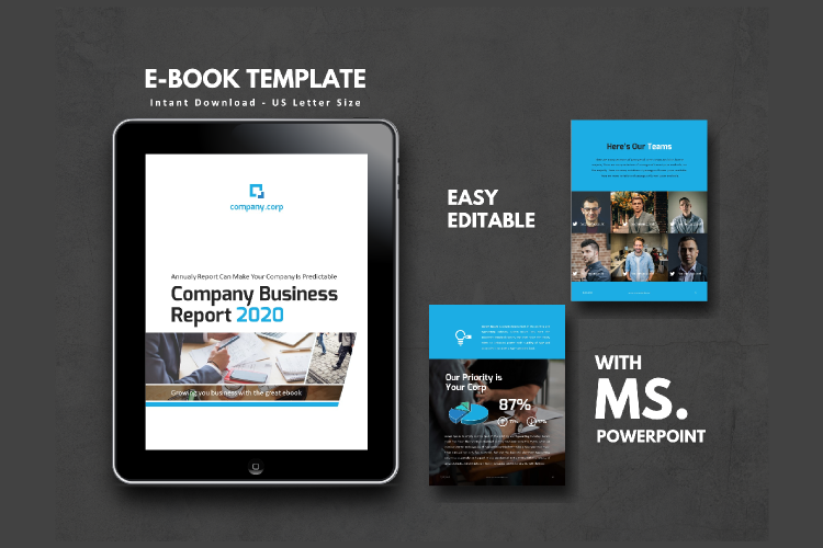 Business Report eBook Powerpoint Template example image 1
