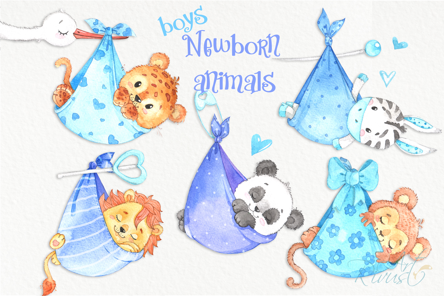It's a boy Newborn animals clipart PNG download. African Saf example image 1