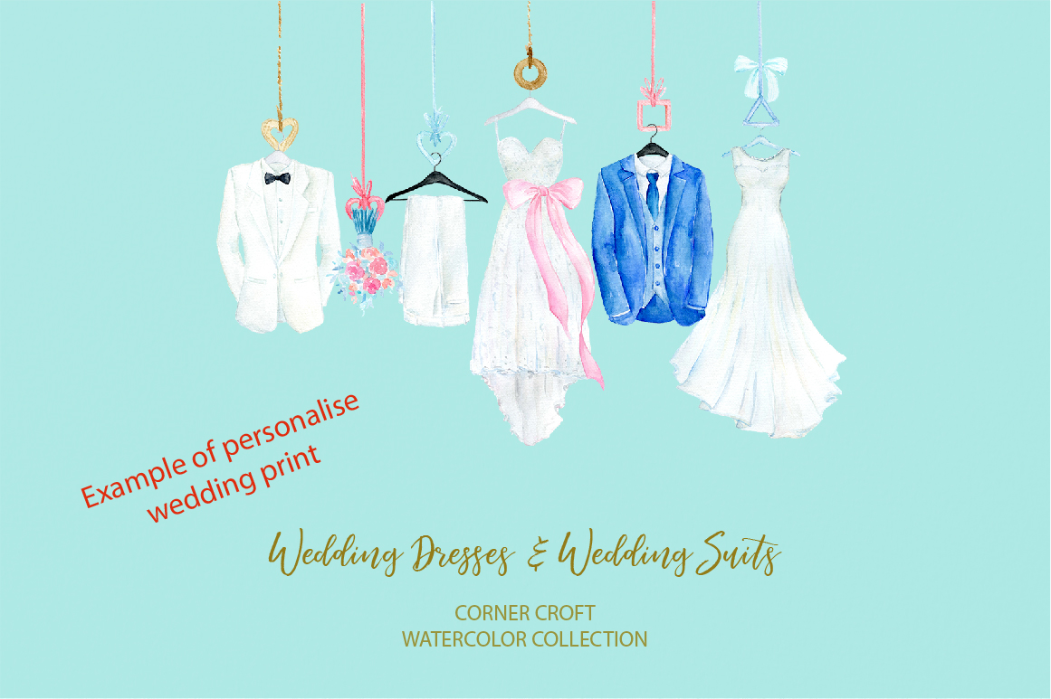 Watercolor wedding outfit on hangers and cloth hooks example image 6