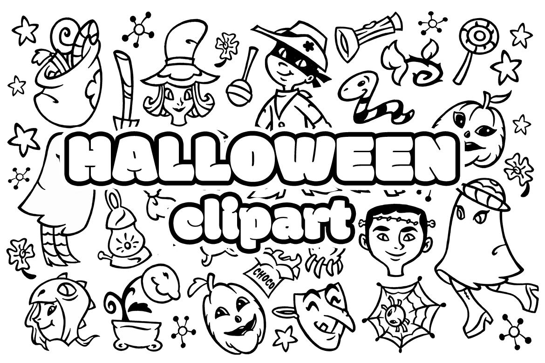 30 Halloween Doodles Clipart example image 2