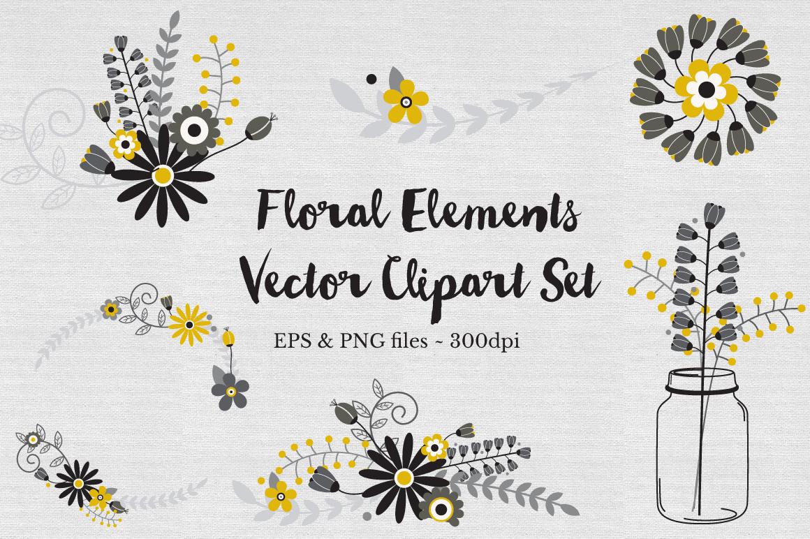 Floral Wreath Clipart Vectors example image 1