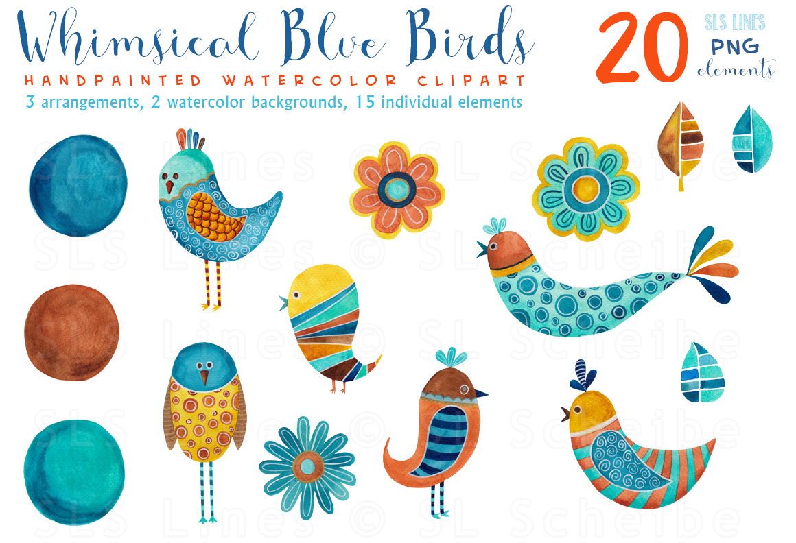 Whimsical Blue Birds Watercolors, PNG example image 3