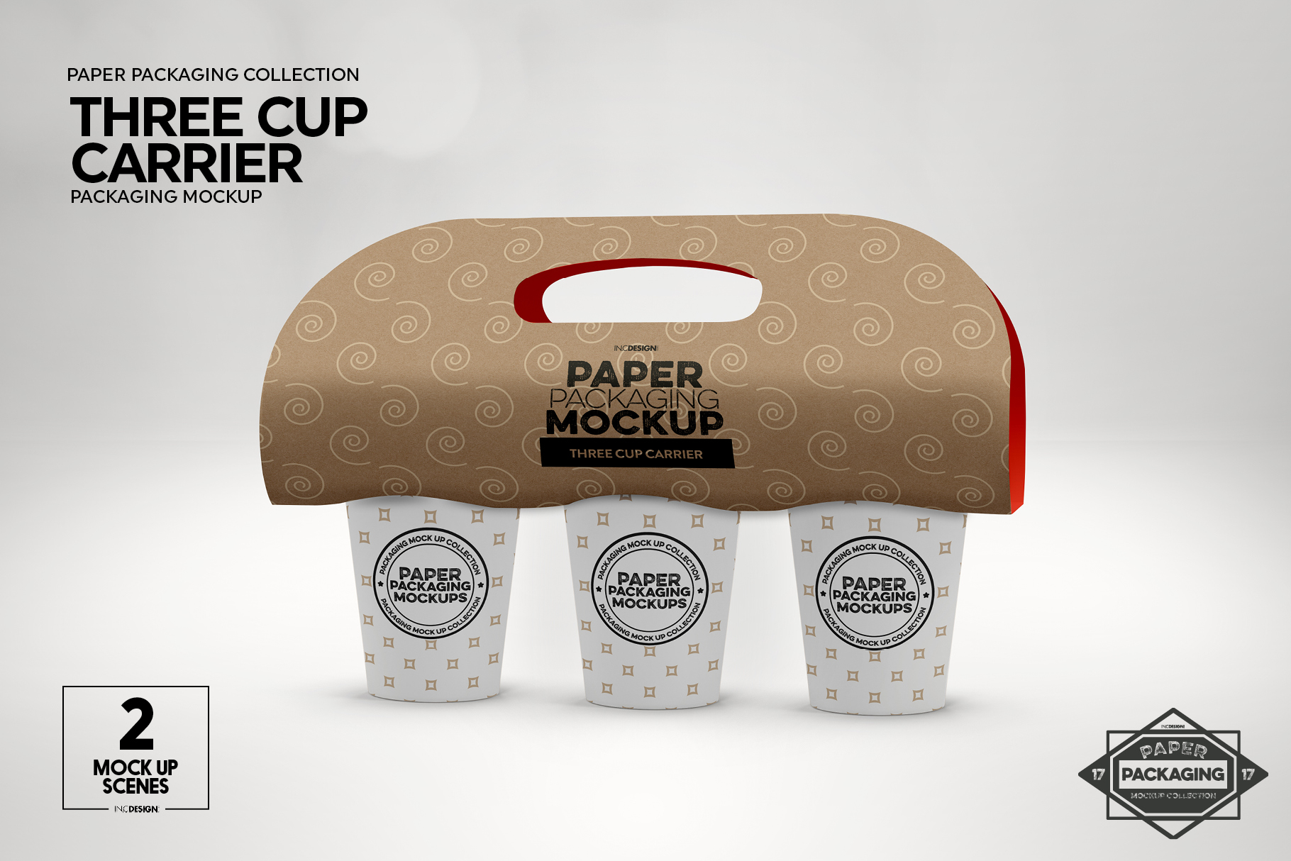 Three Cup Paper Carrier Packaging Mockup example image 9