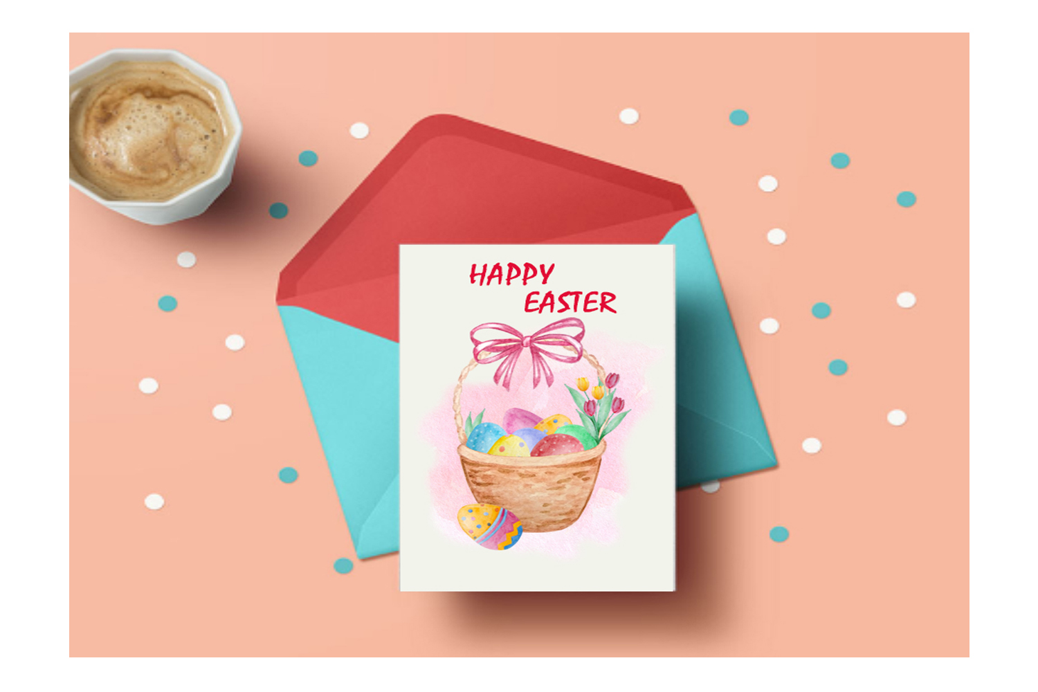 Watercolor Happy Easter Clipart Set example image 4