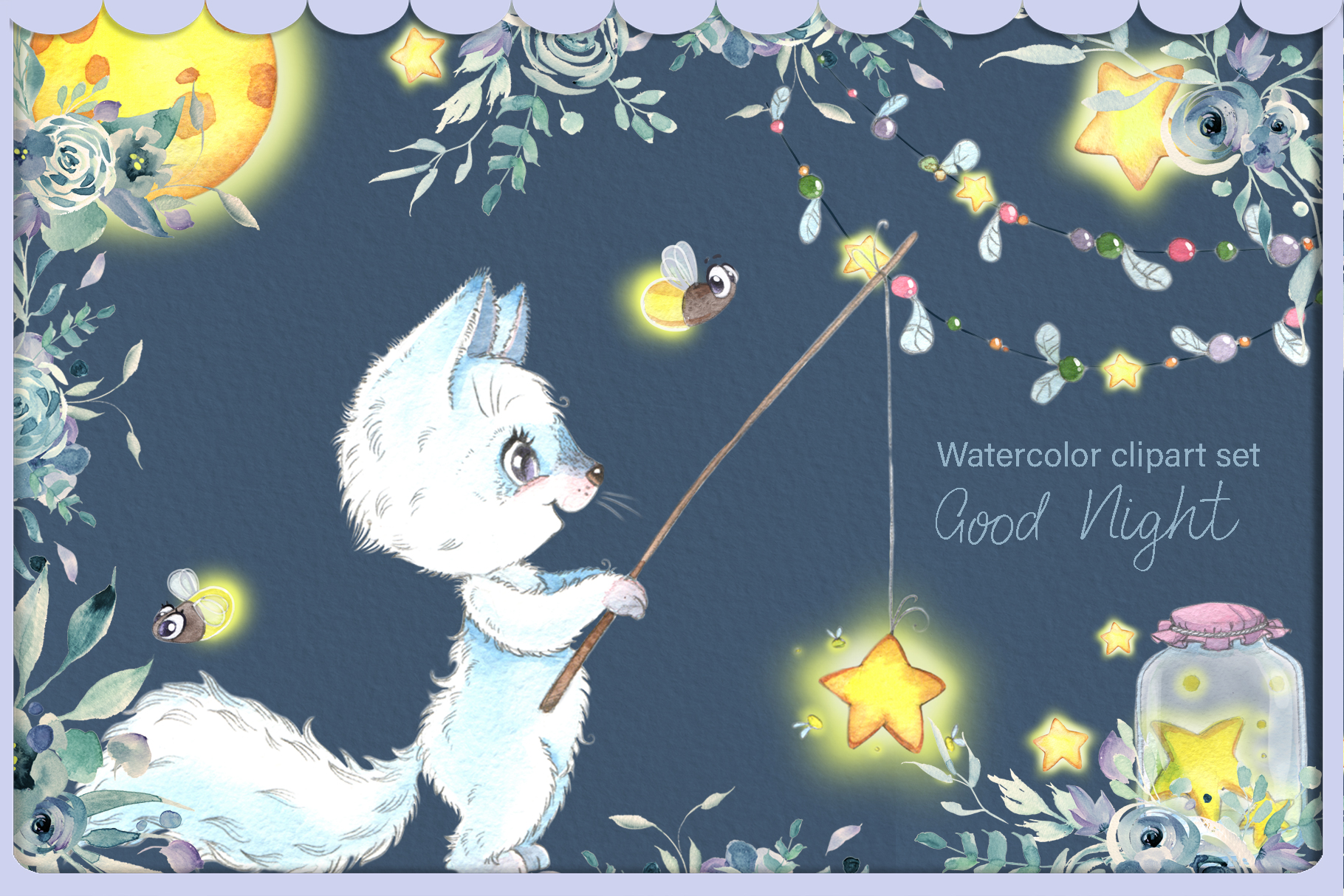 Arctic fox and glowwarm night watercolor clipart kit for bab example image 2