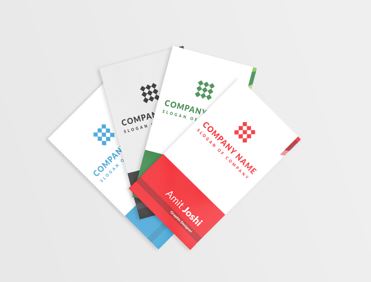 4 Solid Color Vertical Business Card example image 1