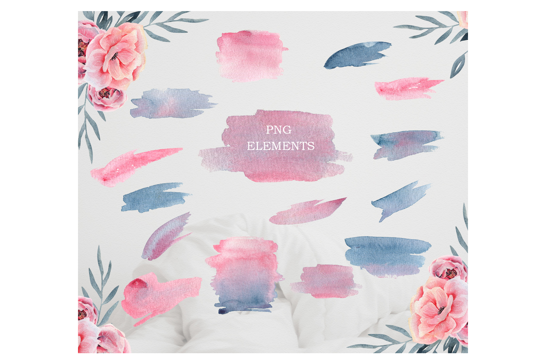 Watercolor Floral map, Spring pink flowers clipart, peony example image 7