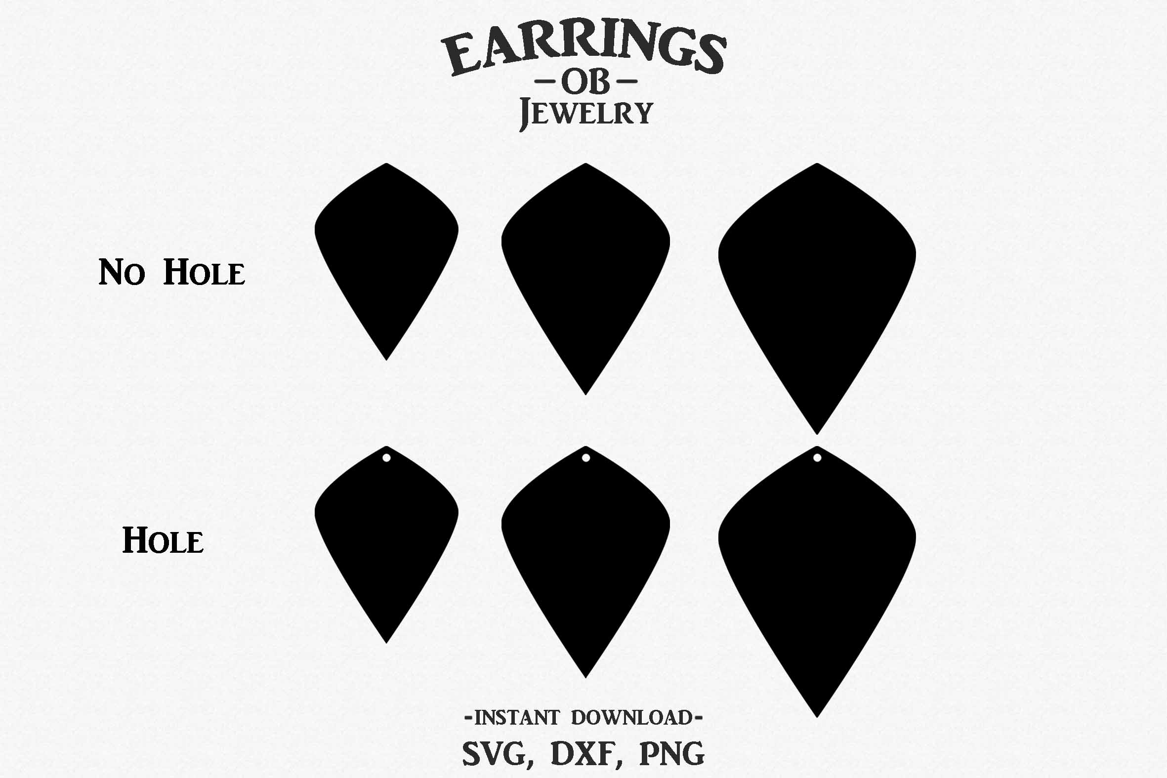 Earring Svg, Teardrop, Leaf, Stacked, Cut File example image 2