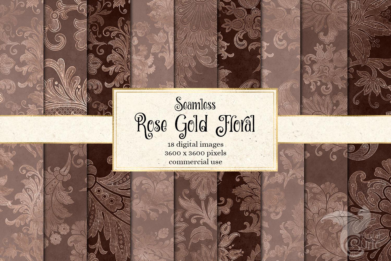 Rose Gold Floral Digital Paper example image 1
