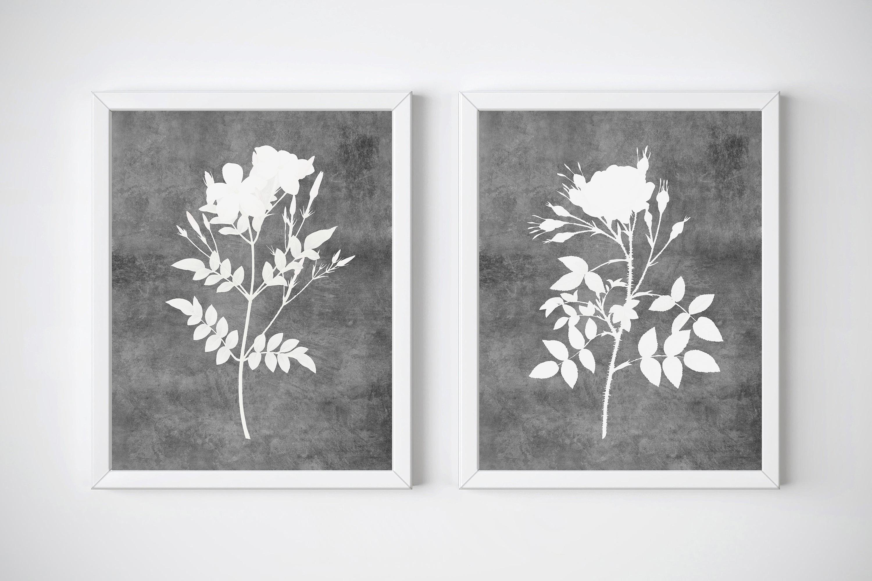 Gray Flower Print, Watercolor Wall Art Set of 2, Botanical example image 1