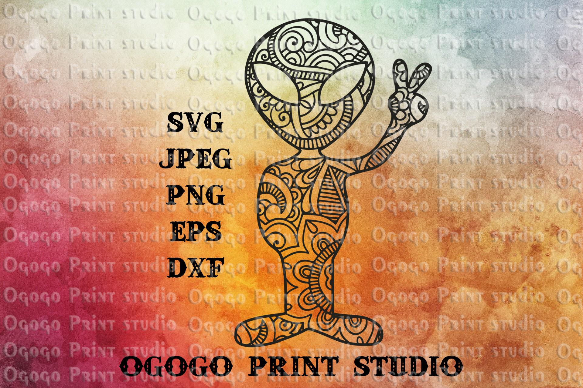 Alien Svg, Zentangle SVG, Peace svg, Mandala svg, UFO svg example image 1