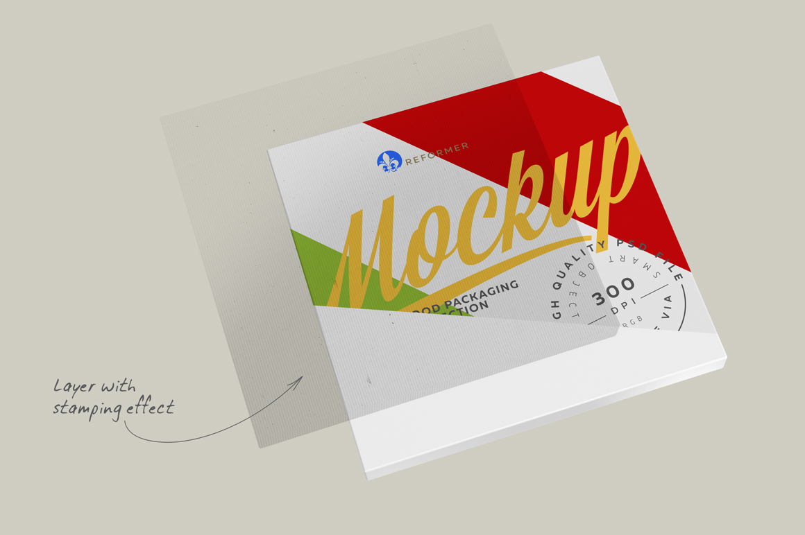 Pizza Box Mockup Half Side View example image 2