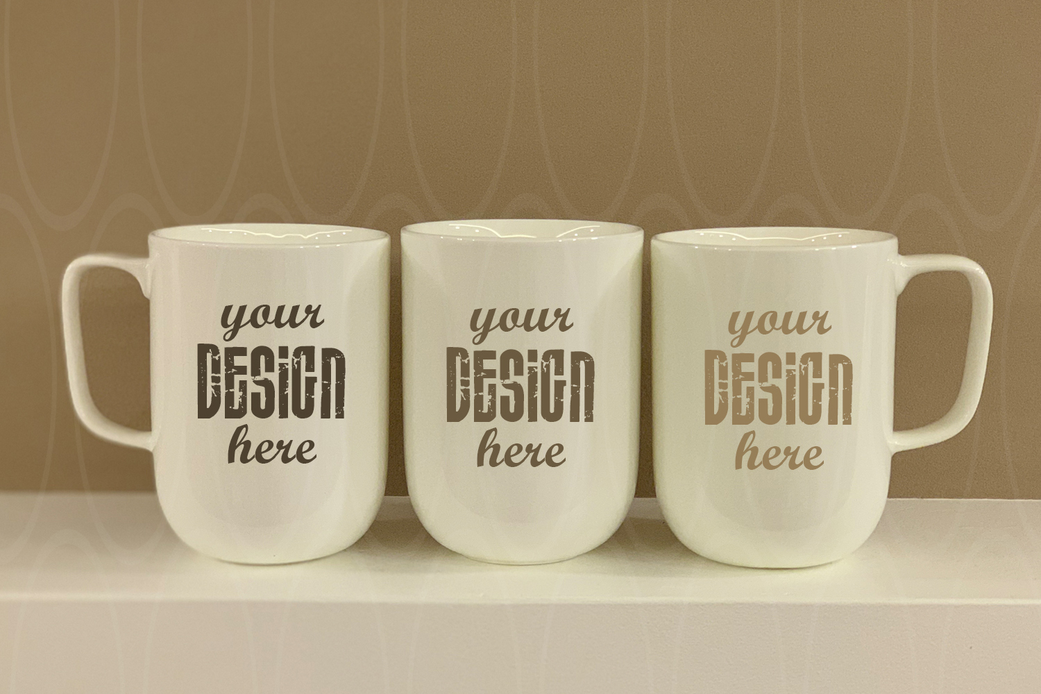 Blank Three White Coffee Glass mockup White Mugs example image 1