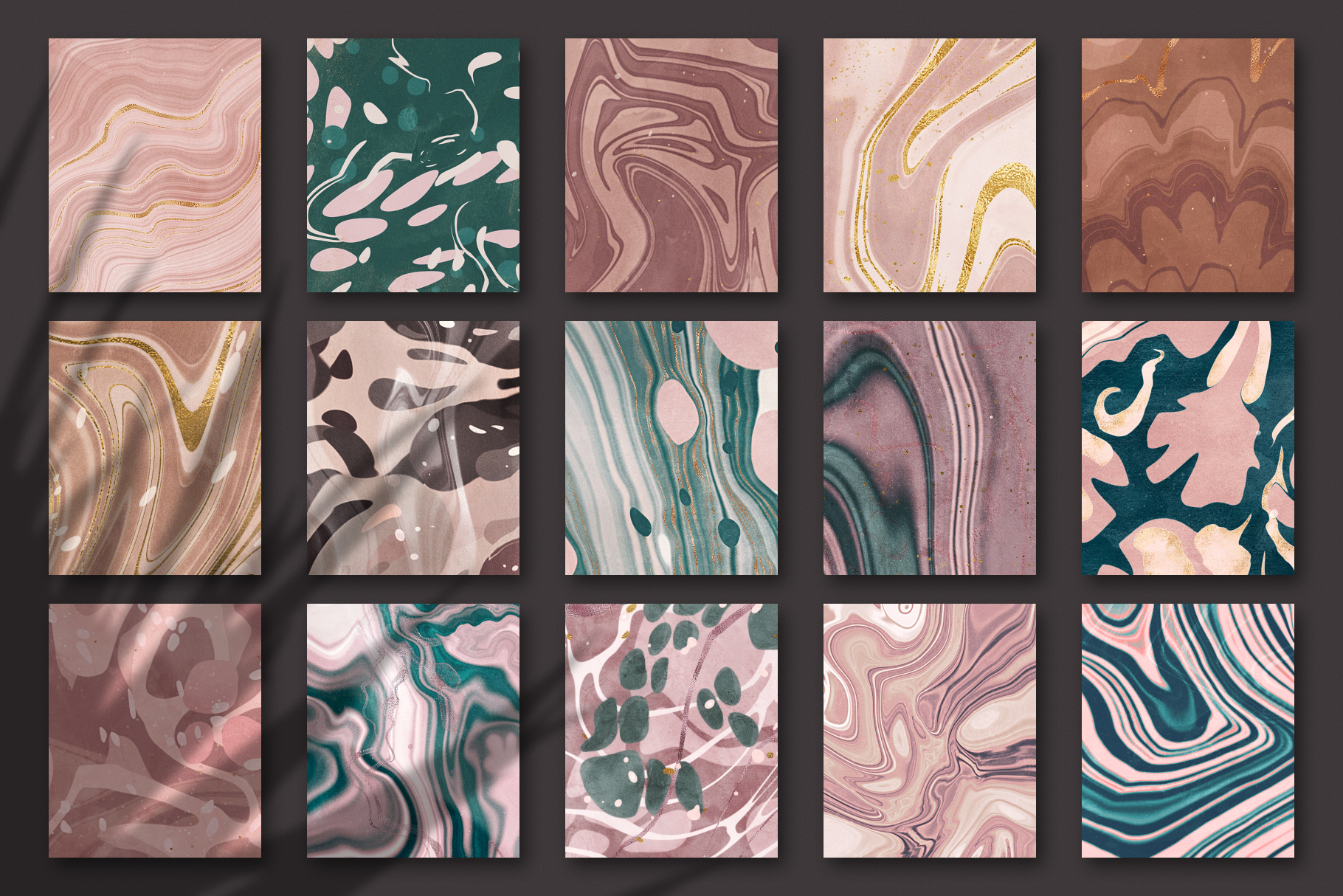 Marbled Paper Textures Collection - 15 Digital Papers example image 2