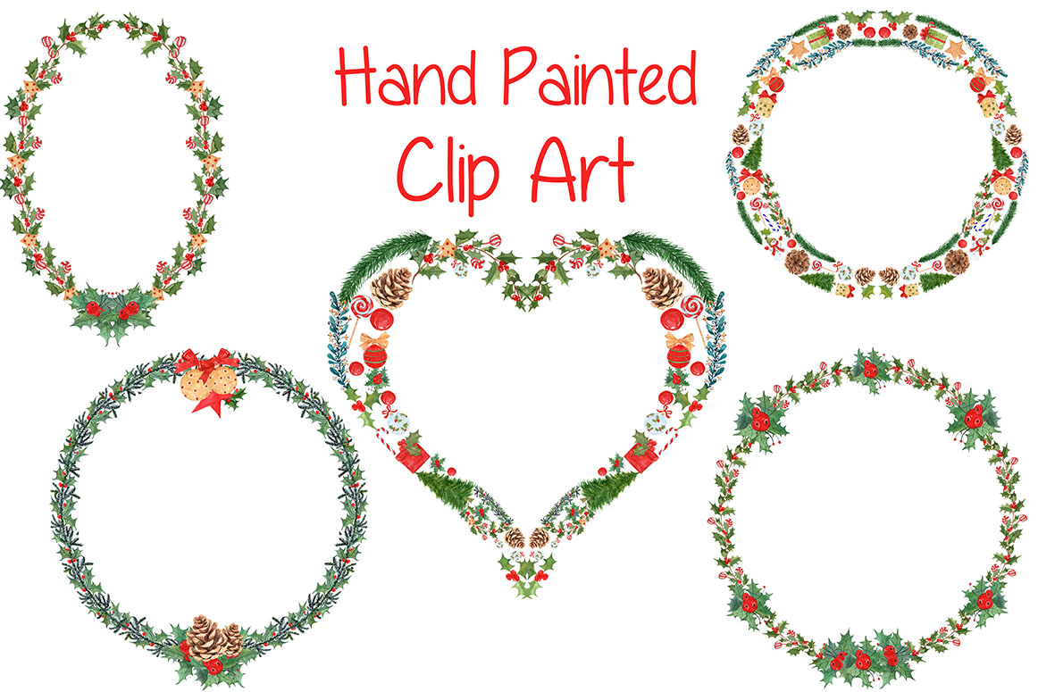 Watercolor Christmas wreaths clipart example image 2