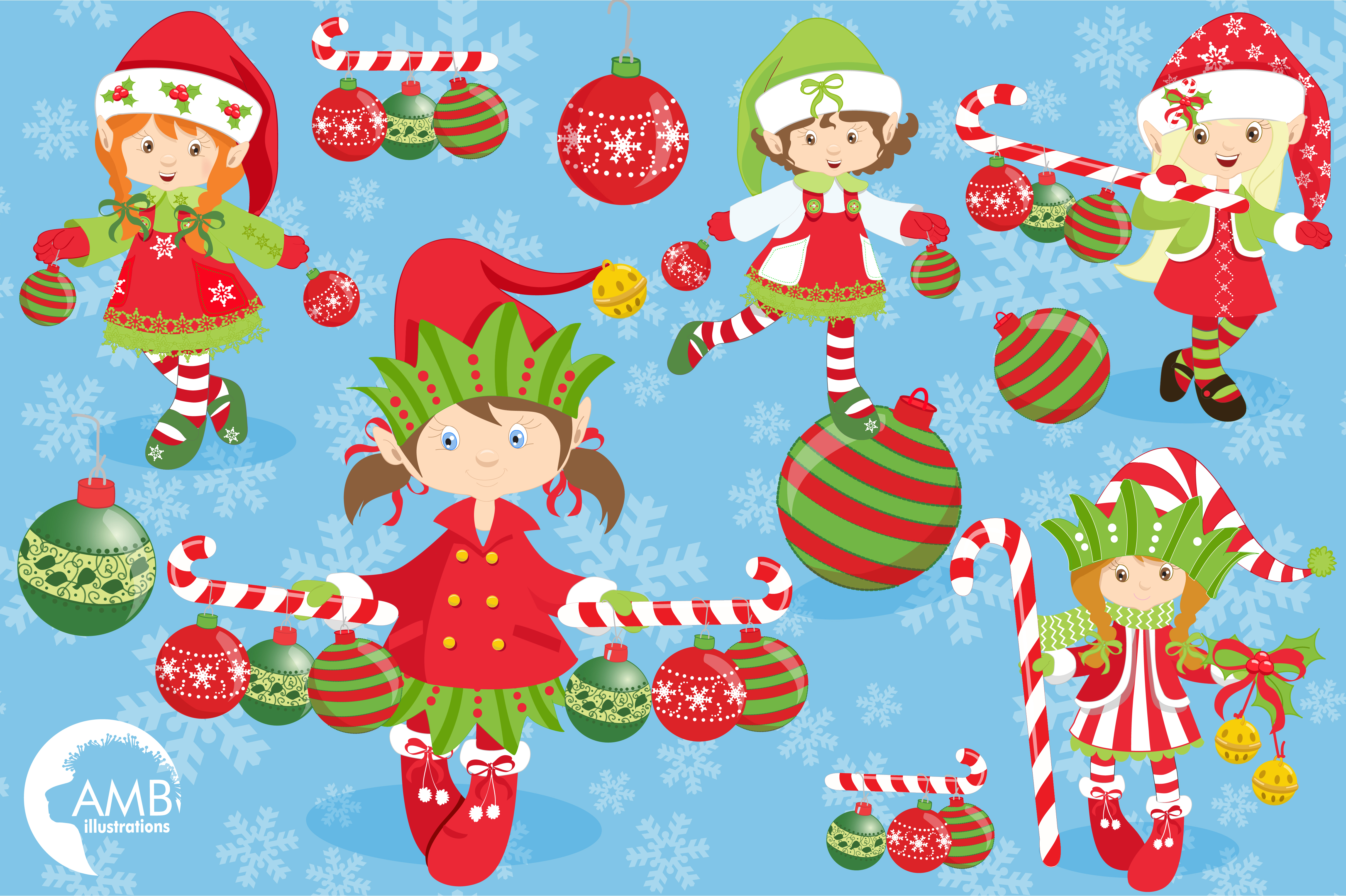 Christmas elves clipart, graphics, illustrations AMB-195 example image 5