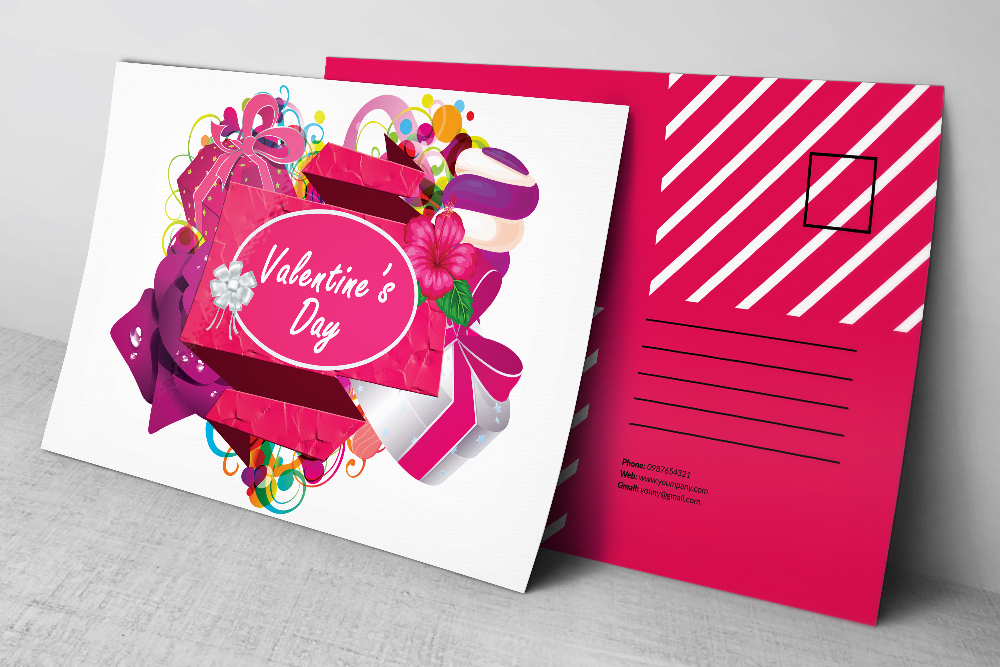 Valentine's Day Postcards PSD example image 2