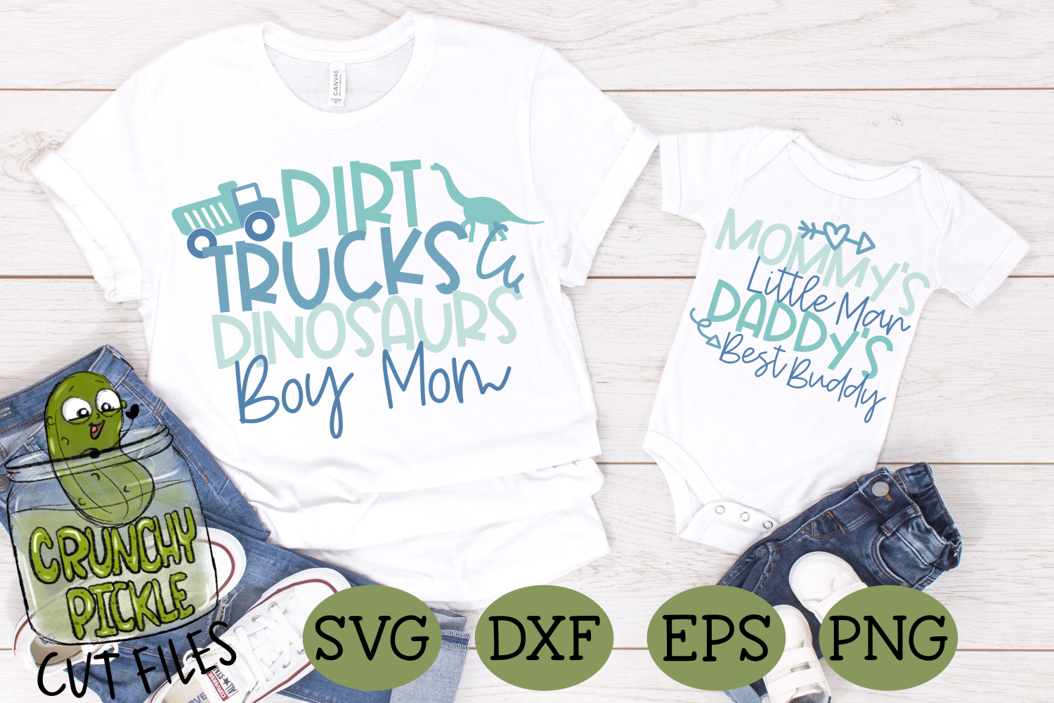 Mommy & Me - Boy SVG Cut File / Dirt, Trucks. Dinosaurs example image 1