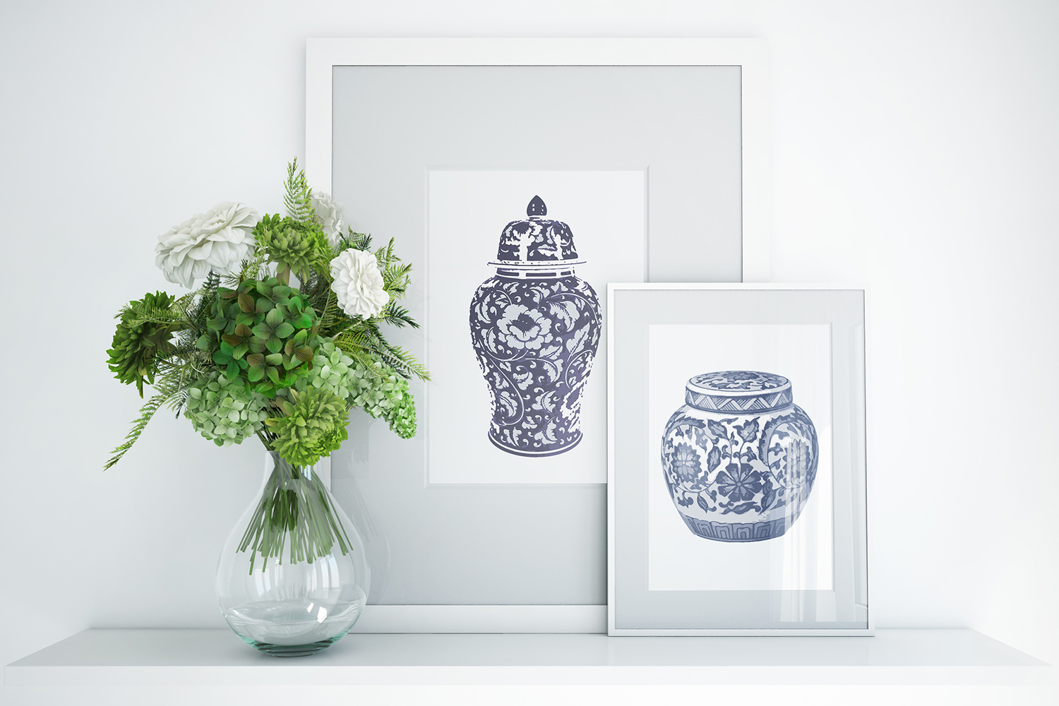 Indigo Blue and White Printable Kitchen Ginger Jar Wall Art example image 2
