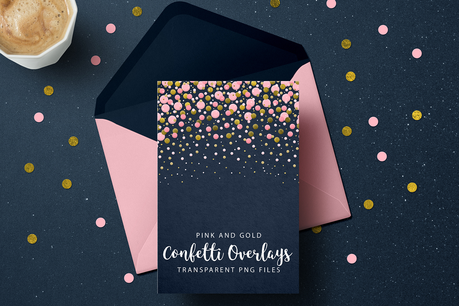 Pink and Gold Confetti Overlays, Transparent PNGs example image 7